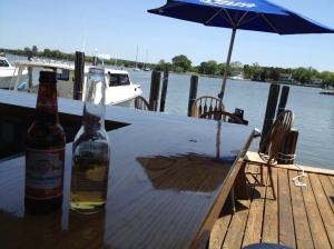 The view from Schooners, Friday's lunch spot. Eleanor Q is sitting in the background. They serve a tasty jambalaya for not being in the south.