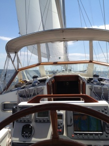 The view from the wheel during our sail to Solomons Island, MD