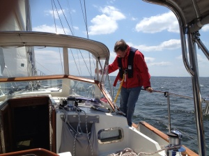 Frank testing the jack lines - things that keep you tethered to the boat in bad weather