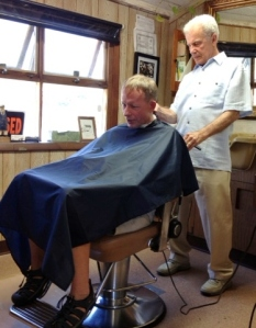 John the Barber Working on Frank and swapping stories about the locals