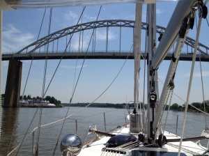 Going under the first of several bridges in the C&D and into Chesapeake City