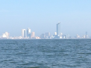 Atlantic City to our port side as we motor up the coast in the early morning.
