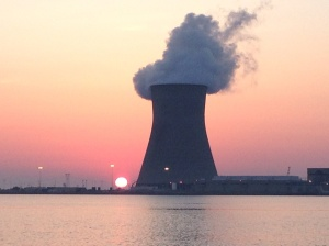 THAT was the view to the west. We chose not to go crabbing in this spot. Good Morning Salem Nuclear Power Plant!