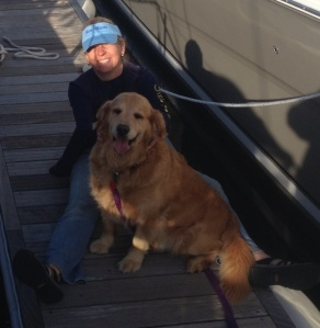 Making friends at the marina. My new best friend, Molly.