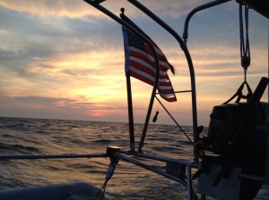 We watched sunset during the passage after missing the storms just to our west;