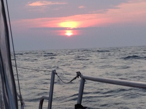 Sunrise in the open waters.
