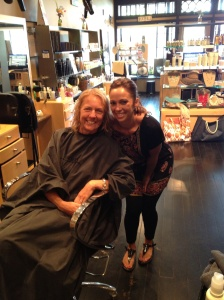 Rachel was a sweetheart! It's only fair that I get a picture in the midst of getting my hair done, too.