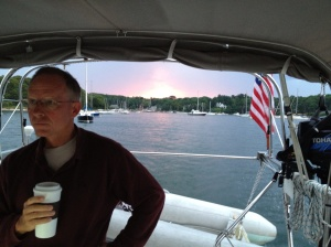 Leaving Quissett Harbor at daybreak