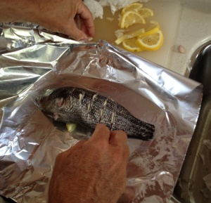 And then there's always cooking to pass the time (which is easy to do when it's a little chilly!) Frank made us this delicious sea bass dinner! (No, he didn't catch it . . . )