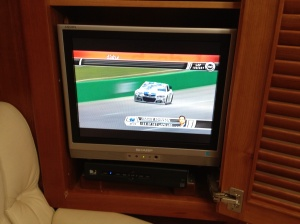 Watch the Nascar race . . . we do have TV, but we have guidelines for watching it: only for major news events, weather events, major sporting events . . . or in this cast, stretches of bad weather!