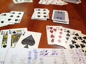 Play gin rummy (we have quarterly tournaments. Frank just won last quarter, but July is a new start!)