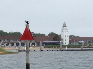 A bird surveys the local yacht club as we pass.