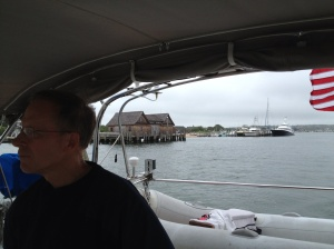 Busting out of Lake Montauk at last! The lake is in the rear view mirror (if we had a rear view mirror.)