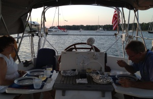 Dinner in the cockpit. On a nice evening, we grilled some nice shrimp!