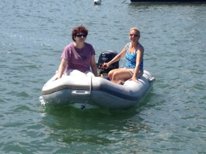 Caroline and Ems coming back from a trip ashore to the market. Ems driving is improving and Caroline was a great supporter. Independence Day indeed!