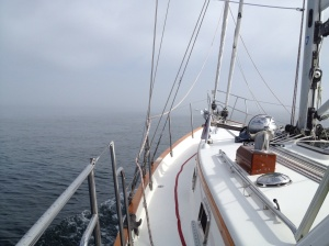 And here we are leaving Block Island . . . hopefully through the jetty . . . I can't see!