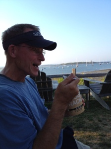 If you can't find an ice cream stand, just take your own spoon and go to the store! Appropriate that he's eating Moose Tracks in Maine.