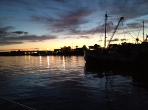 Gloucester Harbor at night.