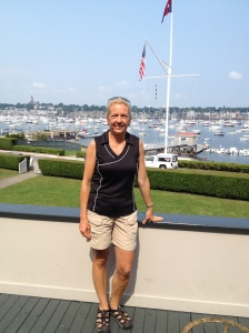 Mary Marie (Ems) with the harbor in the background.