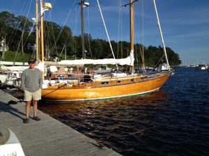 There are some stunning boats in these parts! Frank admiring one example.
