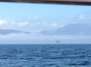 A schooner in the fog. This fog bank moved in and out all day!
