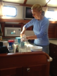 We enjoyed a couple of dinners on board. Watch out . . . Ems is in the galley!