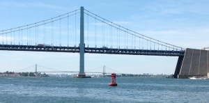 Throgs Neck Bridge, one of many bridges we passed under.