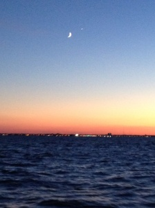 A new moon at sunset over the Jersey Coast.