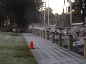 A frosty morning with ice on the dock