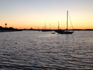Anchored up in Cape May with many other boats heading south.