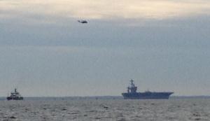 USS Theodore Roosevelt leaving port.