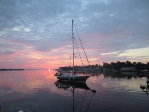 Eleanor Q leaving Elizabeth City at sunrise. Picture taken by Anthony aboard Magnolia.