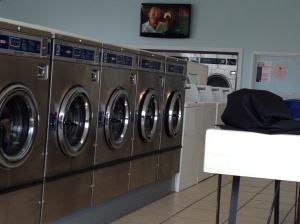 "Laundry day in ""The Wash House"" with Anthony Hopkins on the screen. I offered to make Frank some fava beans for lunch but he declined. (Who knows the movie line???)"