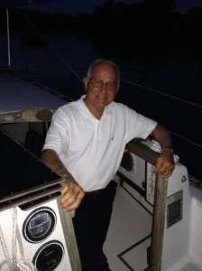 Gil standing in the companionway of Barbara Jean.