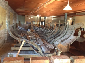 """The """"bones"""" of an old boat found in the river near Georgetown . . . now preserved in the Rice Musuem."""