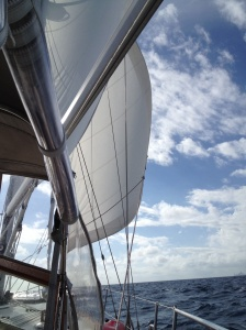 Sails up on the way to Miami!