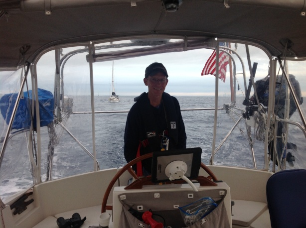 Captain at the helm underway to Bimini! Magnolia behind us.