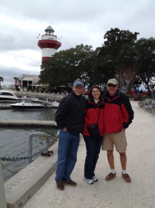 We did our best to enjoy some sightseeing around Hilton Head Island despite the 45 degree temperatures and 25mph winds. Anthony, Annette and Frank in front of the famous lighthouse in Harbortown.