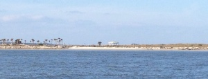A glimpse of a sandy beach on the way in to Jacksonville