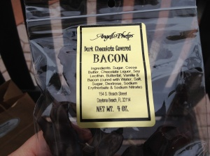 They introduced me to Angell & Phelps candies. Don't laugh, the chocolate covered bacon is AMAZING! I had to get some.