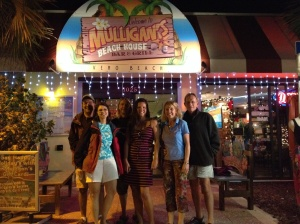 The crews of Eleanor Q, Magnolia and Journey out to dinner in Vero Beach
