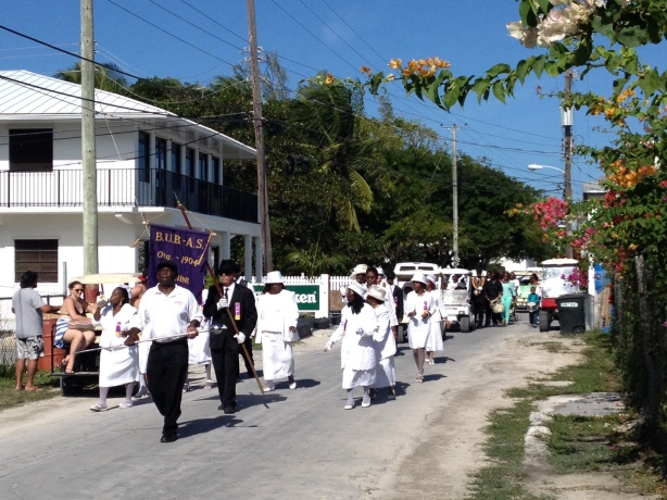 This was the after church New Year's parade with the community band. The women looked beautiful in their all white outfits!