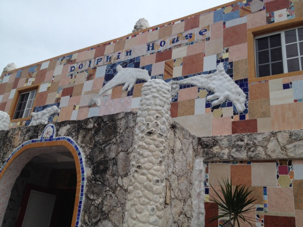 The Dolphin House is a beautiful building and museum owned, operated and decorated by an artist who has used scraps from the sea and other sources to make mosaics of every inch inside and out.