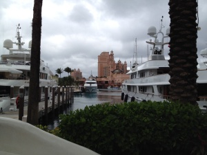 Mega Yachts in the marina at the Atlantis.