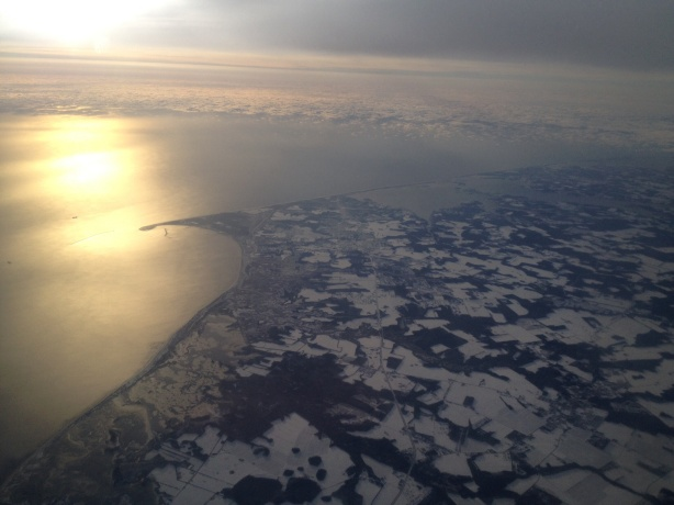 Aerial view of the frozen New Jersey coast.