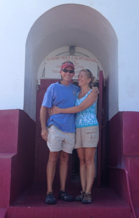 Frank and I at the door step of the Elbow Reef Lighthouse.