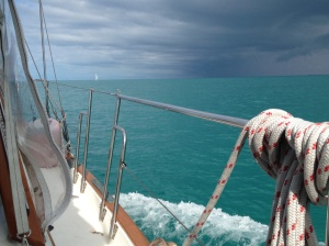 We were lucky to dodge a few squalls in the area as we made our way across the Sea of Abaco and away from Spanish Cay.