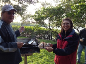 We enjoyed a cookout on the marina grounds at Vero with Anthony at the grill!