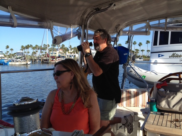 We got to see our friends Anne and Bob in Daytona again. Here we are checking out what we think was a loon! It certainly sounded like it. By the way, Anne does an amazing duck call just blowing through her fingers. No lie, ducks actually came!! I gotta learn how to do that.