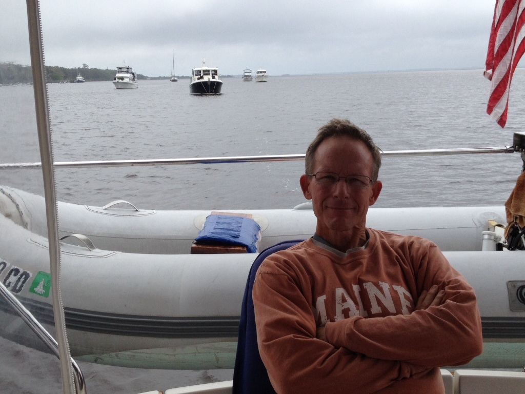 Captain happy to be anchored at Cumberland Island.